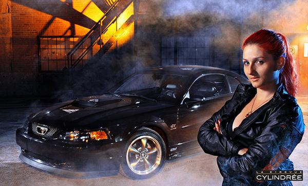 Mustang and model with smoke added.