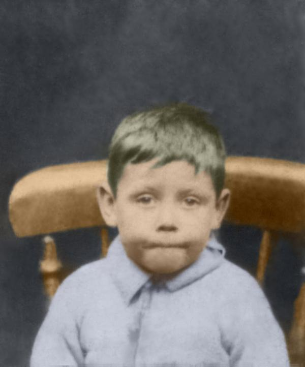 young boy original and restored colour