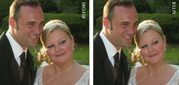 Wedding photo retouching to make bride look thinner