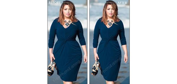 Photo editing to look thinner Plus size model made to look slim; regular size