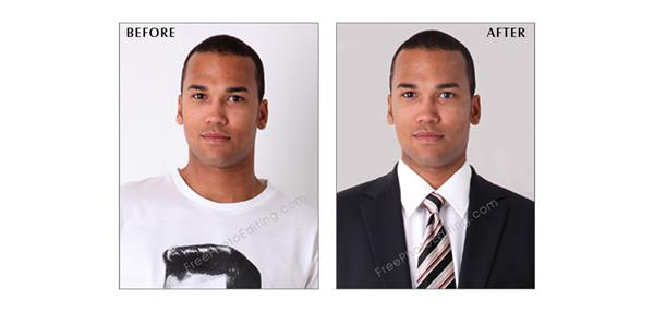 Photo manipulation to change casual clothes to business suit
